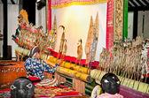 Wayang kulit en sonobudoyo museo, yogyakarta, indonesia. — Foto de Stock