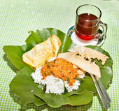 Nasik famous dish from Java served on leaf — Stock Photo