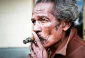 Cubans smoking cigar — Stock Photo
