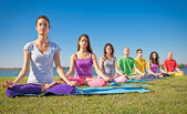 Genç grup var meditasyon yoga sınıf. — Stok fotoğraf