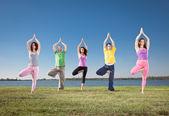 Nel gruppo pratica yoga asana sul lungolago. — Foto Stock