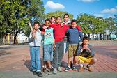 Unidentified Cuban multi-ethnic group of boys posing in Santa — Stock Photo