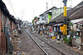 No identificado pobres que viven en tugurios, indonesia. — Foto de Stock