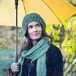 Woman with yellow umbrella smiling — Stock Photo #21288363