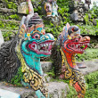 Stock Photo: Traditional balinese dragon monster secure the gate of temple, B
