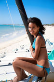 Beautiful caribbean woman smile — Stock Photo