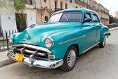 Classic blue Plymouth in Havana. Cuba. — Stock Photo