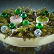 Christmas and New Year decoration- balls, tinsel, candel - Stock Photo