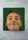 смешной человек в рамку рисунка — Стоковое фото