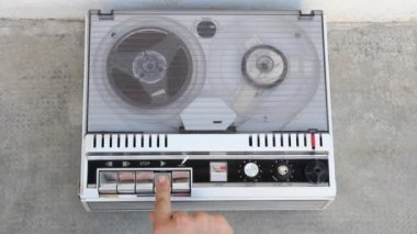 Old tape recorder close up view from above — Stock Video