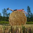 Hay bale training — Stock Video #12559463
