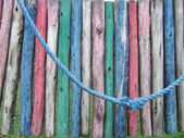 Detail of a colorful dilapidated playground — ストック写真