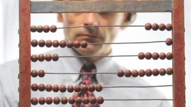 Man and abacus — Stock Video