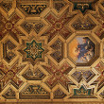 Постер, плакат: Baroque ceiling in Santa Maria in Trastevere Rome