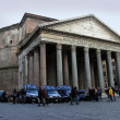 Pantheon exterior with strong police guard - Stock Photo