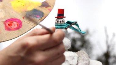 Snowman miniature — Stock Video