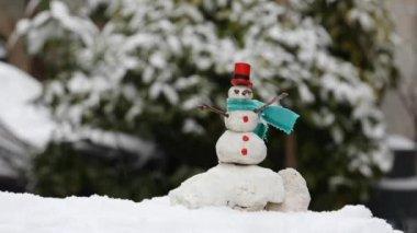 雪だるまのミニチュア — ストックビデオ
