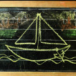 Royalty-Free Stock Photo: Sailing boat on chalkboard