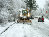 Snowplow open road — Stock Photo