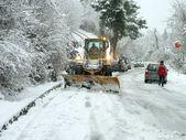 Snowplow open road — Stock Photo