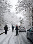 Road blocked by snow — Stock Photo