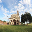 Small church  fish-eye view — Stock Photo