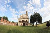 Mały kościół rybie oko widok — Zdjęcie stockowe