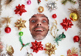 Smiling Christmas man — Stockfoto
