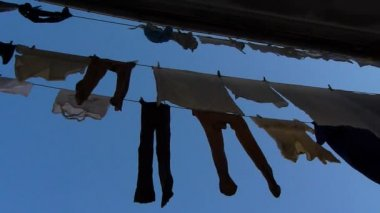 Clothes on a balcony — Stockvideo