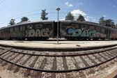 Graffiti train — Stock Photo