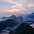 Sunset view of Botafogo and Copacabana beach in Rio de Janeiro — Stock Photo