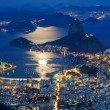 Night view of mountain Sugar Loaf and Botafogo in Rio de Janeiro - ストック写真