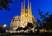Night view of Sagrada Familia in Barcelona — Stock Photo