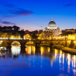 Night view of Basilica St Peter and river Tiber in Rome — Stock Photo #33959365