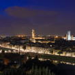 Night aerial view of Florence with Cathedral of Santa Maria del Fiore  Duomo , Palazzo Vecchio and Ponte Vecchio — Stock Photo