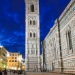 Night view of Giotto s Campanile in Florence — Stock Photo