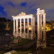 Night view of Temple of Saturn Forum Romanum in Rome — Stock Photo