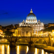 Night view of Basilica St Peter and river Tiber in Rome — Stock Photo