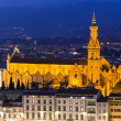 Night aerial view of Basilica di Santa Croce (Basilica of the Holy Cross), in Florence — Stock Photo