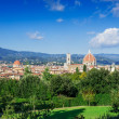Aerial view of Florence with Cathedral of Santa Maria del Fiore (Duomo) — Stock Photo