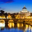 Night view of Basilica St Peter and river Tiber in Rome — Stock Photo #35811373