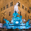 Fountain of Neptune in Piazza della Signoria in Florence at Night  — Stock Photo