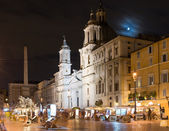 Piazza Navona and Fontana dei Fiumi by Berniny and Egypts obelisk and Santa Agnese in Agone church, Rome — Stock Photo