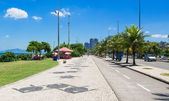 View Barra da Tijuca with palms and mosaic of sidewalk in Rio de Janeiro — Stock Photo
