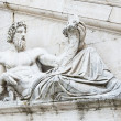 Sculpture of Tiber river in the Capitolium planed by Michelangelo in Rome — Stock Photo