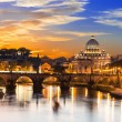 Sunset view of Basilica St Peter and river Tiber in Rome — Stock Photo #39126217
