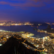 Night aerial view of Rio de Janeiro, mountain Sugar Loaf — Stock Photo #43618073