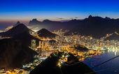 Night view of Corcovado and Botafogo in Rio de Janeiro — Stock Photo