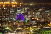 Night aerial view of Centro, Lapa and Сathedral. Rio de Janeiro — Stock Photo