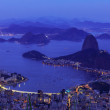 Night view of mountain Sugar Loaf and Botafogo in Rio de Janeiro — Stock Photo #45702367